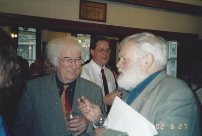 Seamus Heaney and Michael Longley at Linen Hall, Tim Carson in background